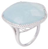 Meira T 14K White Gold, Milky Aqua & 0.46 Total Ct. Diamond Cocktail Ring