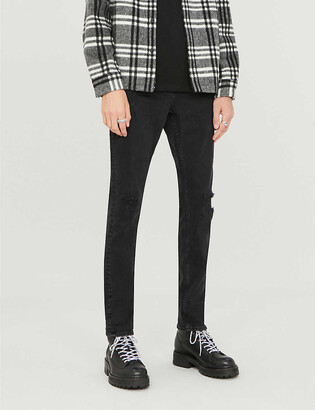 AllSaints Cigarette mid-rise faded ripped skinny jeans