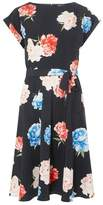 Dorothy Perkins Womens **Tall Navy Floral Print Fit And Flare Dress