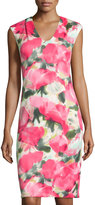 Donna Ricco Cap-Sleeve Floral-Print Sheath Dress, Pink
