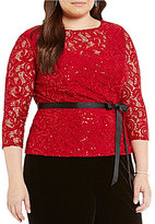 Alex Evenings Plus Illusion Neck Sequin Lace Top