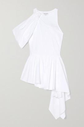 Alexander McQueen Asymmetric Draped Cotton-poplin And Jersey Top - White
