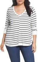 Plus Size Women's Caslon Marled V-Neck Sweater