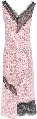 Joseph Asymmetric Lace-trimmed Floral-print Silk Crepe De Chine Midi Dress