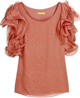 Catherine Malandrino Silk-chiffon ruffle-sleeved top
