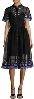 Temperley London Elette Embroidered Trim A Line Dress