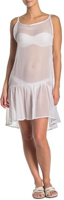 Rachel Roy Sheer Flounce Hem Cover-Up Dress