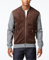 Sean John Men's Mixed Media Colorblocked Zip-Up Bomber Jacket