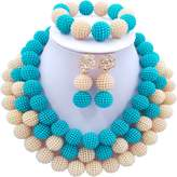 laanc African Nigerian Beads Fashion Women's 3 Rows Imitation Pearl Bridal Wedding Jewelry Sets