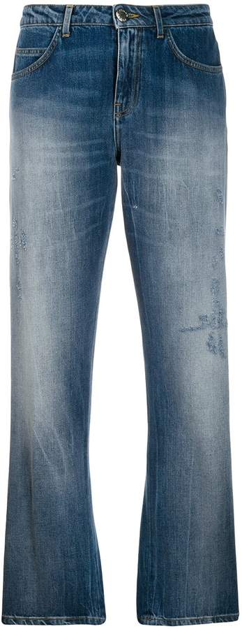 Pinko sequin logo cropped jeans