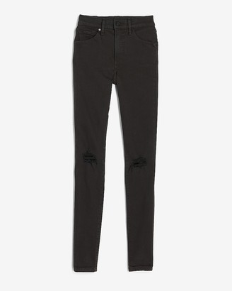 Express Mid Rise Denim Perfect Black Ripped Skinny Jeans