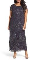Pisarro Nights Plus Size Women's Cap Sleeve Beaded Long Dress