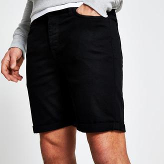 River Island Black Dylan slim fit shorts
