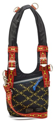 Aries X Porter Chain-print Harness-strap Bag - Womens - Black Multi