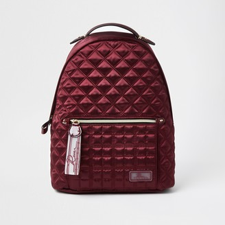 River Island Womens Red satin quilted backpack