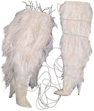 Saint Laurent White Fur Boots