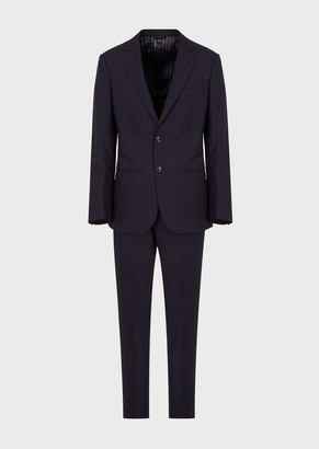Giorgio Armani Slim-Fit Pinstriped Suit From The Manhattan Collection In Full-Canvas Wool