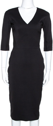 Victoria Beckham Black Wool Blend Sheath Dress S