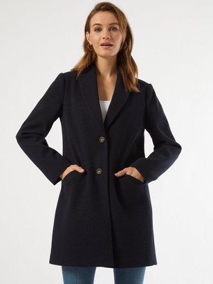 Dorothy Perkins Minimal Shawl Collar Coat - Navy