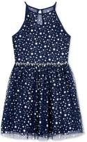 BCX Star-Print Fit and Flare Dress, Big Girls (7-16)