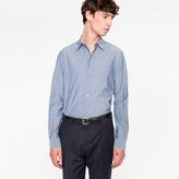 Paul Smith Men's Slim-Fit Dark Grey Cotton Shirt With 'Artist Stripe' Cuff Lining