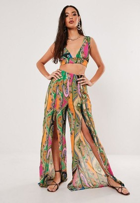 Missguided Pink Paisley Print Co Ord Floaty Chiffon Split Front Palazzo Pants