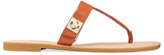 Kate Spade Cyprus Lizard-Embossed Leather Thong Sandals