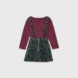 Toddler Girls' 2pc Leopard Print Long Sleeve T-Shirt & Skirtall Set - art classTM