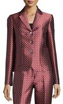 Michael Kors Button-Front Paisley-Print Jacket, Crimson/Multi Colors