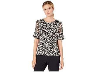 Vince Camuto Women's Short Chiffon Sleeve Elegant Leopard Top