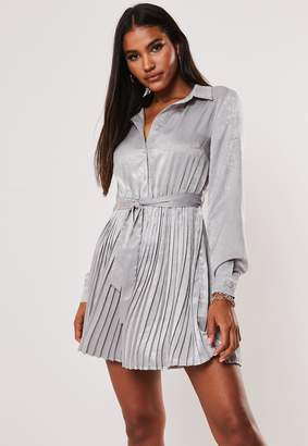 Missguided Grey Pleated Self Belted Shirt Dress