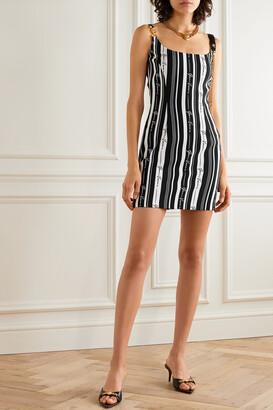 Versace - Embellished Striped Crepe Mini Dress - Black