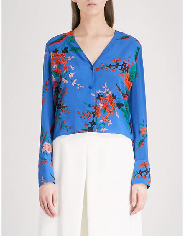 Diane von Furstenberg Floral-print V-neck silk shirt