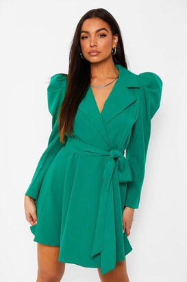 boohoo Ruched Sleeve Tailored Blazer Dress