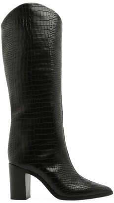 Schutz Analeah Lizard-Embossed Leather Boots