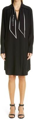 Givenchy Logo Scarf Neck Long Sleeve Silk Shirtdress