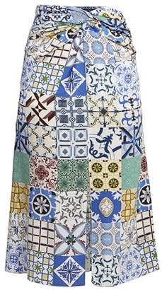 Rokh Tile Print Silk Midi Skirt