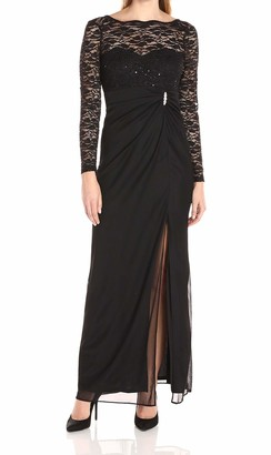 Onyx Nite Women's Long Mesh with Side Slit Sequin Lace Bodice