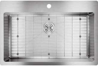 "Elkay Crosstown 33""L x 22"" W Undermount/Drop-In Kitchen Sink with Sink Grid Faucet Drillings: FR2 hole"