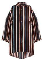 Quiz Black And Orange Stripe Cold Shoulder Shirt