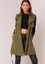 Missy Empire Yolanda Khaki Sleeveless Trench Coat