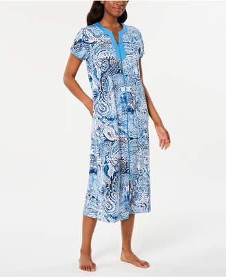 Miss Elaine Printed Knit Long Zip Robe