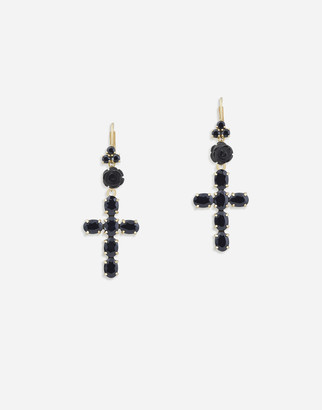 Dolce & Gabbana Devotion Earrings In Yellow Gold With Black Sapphires
