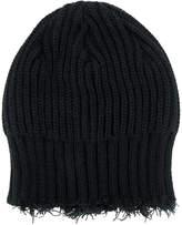 Yohji Yamamoto fringed knitted beanie hat