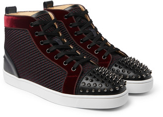 Christian Louboutin Lou Spikes Orlato Velvet, Raffia And Leather High-Top Sneakers