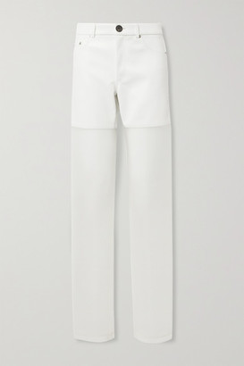Peter Do Paneled Faux Leather And Organza Straight-leg Pants - White