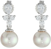 Majorica Pearl Drop w/ CZ Pear Shape Earrings
