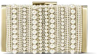 Jimmy Choo J BOX Ballet Pink Soft Suede Clutch Bag with Mixed Pearl Embroidery