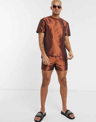 ASOS DESIGN co-ord relaxed t-shirt in bronze metallic