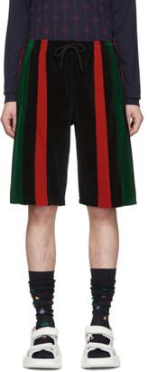 Gucci Black Chenille Signature Stripe Shorts